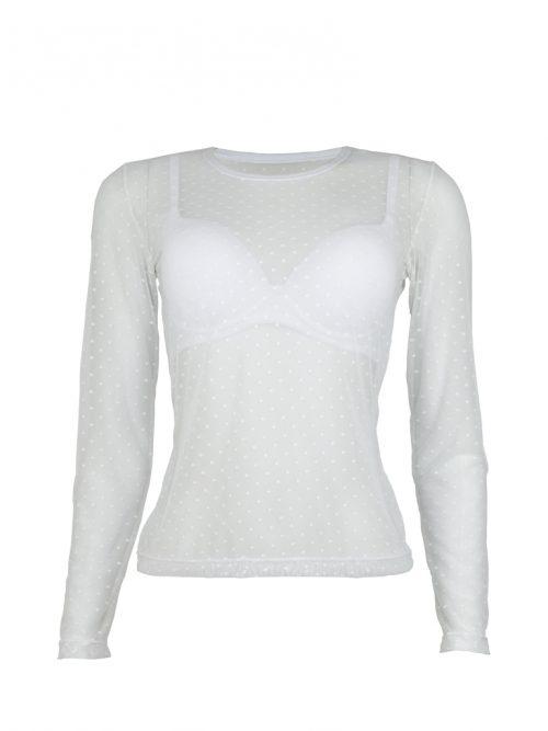 blusa transparente manga longa branca frente