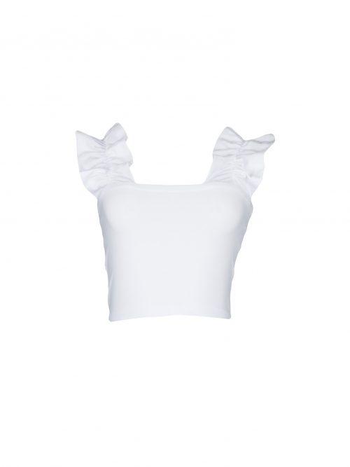 17058 Frente Blusa Cropped com babado na alça