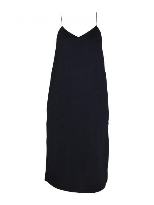 vestido slip dress fenda frente