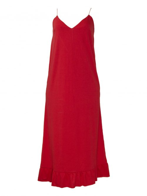 vestido slip dress red frente